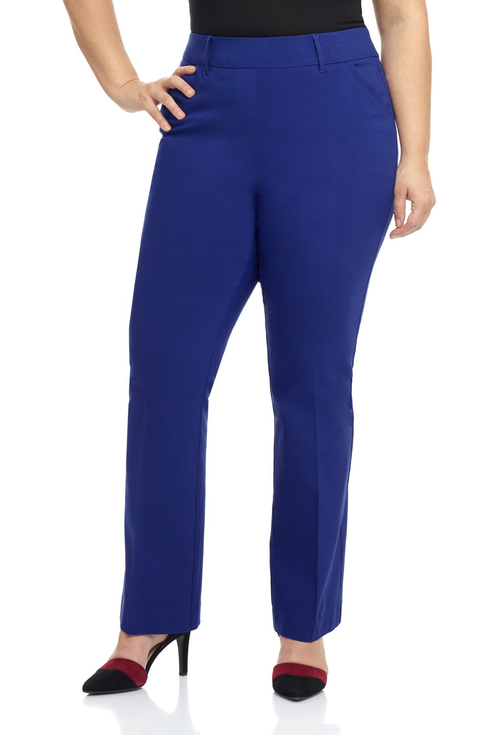 Rekucci Curvy Woman Ease in to Comfort Fit Barely Bootcut Plus Size Pant (16W,Sapphire)