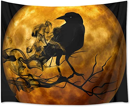 LB Halloween Full Moon Tapestry Wall Hanging Black Crow on The Branch Halloween Tapestry Wall Art 3D Tapestry for Bedroom Living Room Dorm Wall Decor,92.5 x 70.9 Inches