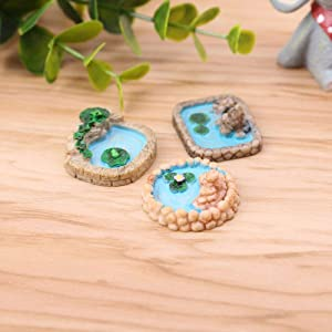 DAWEIF 3pcs/Set Micro Landscapes Pool Miniatures Fairy Garden Decoration Resin DIY Craft Accessories