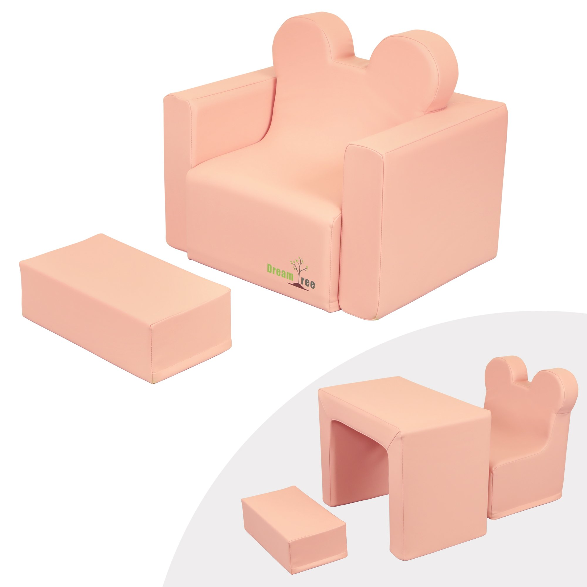 Dream Tree Toddler Table and Chair Set (Sofa Type) Washable, Safe Non-Toxic CPSIA Compliant Soft Foam Furniture for Baby, Kids, and Child - Pink