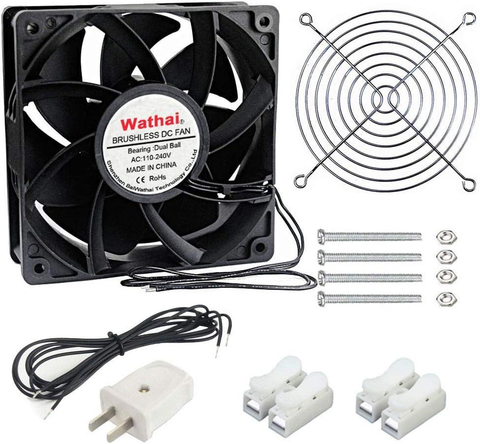 Wathai EC Industrial Case Fan 120mm x 38mm Ball Bearing AC 110V 115V 120V 220V 240V Brushless Cooling Fan
