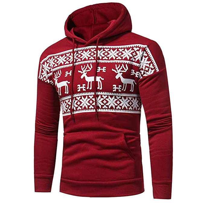 Weihnachten Männer Hood Pullover SHOBDW Herren Herbst Winter Print Hoodie  Kapuzen-Sweatshirt Tops Jacke Mantel ce6f448f01