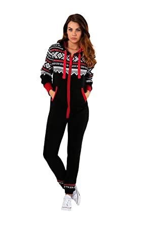 162a429a738a Parsa Fashions ® New Womens Ladies Aztec Print Hooded Zip Up Onesie  Jumpsuit Plus Sizes S