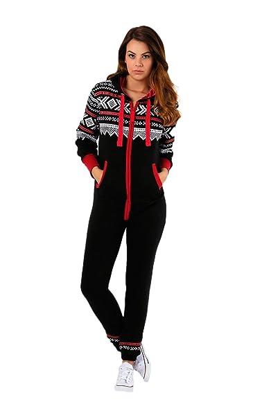 03d5106b437 Parsa Fashions ® Womens Ladies Aztec Print Hooded Zip Up Onesie Jumpsuit  Plus Sizes S-XXXXL Sizes UK 8-22  Amazon.co.uk  Clothing