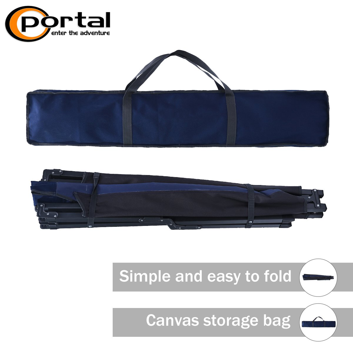 PORTAL Folding Portable Camping Cot 83 XL Pack-Away Tent Sleeping Cot Bed with Side Pockets Carry Bag and Side Pockets Included