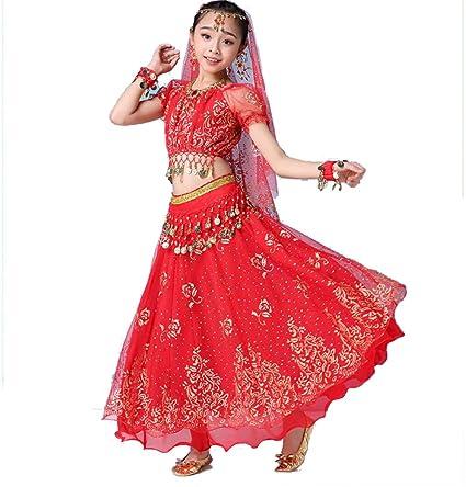 ZYLL Disfraz de Baile de Bollywood Indio para niñas, Trajes de ...