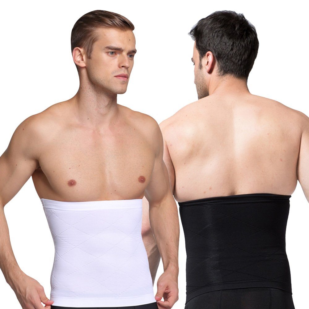 iYunyi Men's Waist Control Belt Shaping Band Elastic Slimming Belt (Black/White(2Packs), S(Waist:26.0''-32.6'',Tag M))