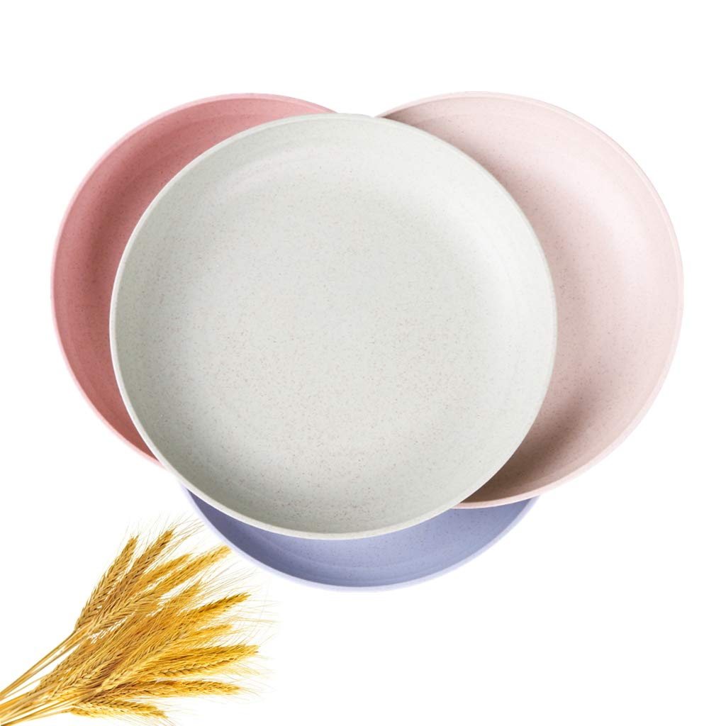 """Ymeibe 7.8"""" Wheat Straw Dinner Plates 4-Pack Reusable Unbreakable Degradable Plates Healthy BPA Free Microwave Tableware Plates for Adult and Toddler Baby Feeding"""