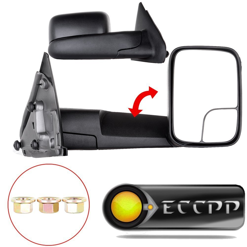 ECCPP® Black Manual Tow Towing Mirrors Side View Mirror Pair Set for 03-08 Dodge Ram 1500 2500 3500 Truck Towing mirrors