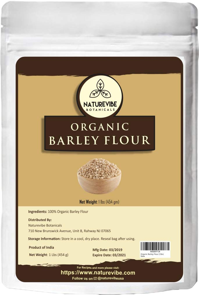 Naturevibe Botanicals – Harina de cebada orgánica, 1 lb (no contiene OMG ni gluten), fuente de fibra rica