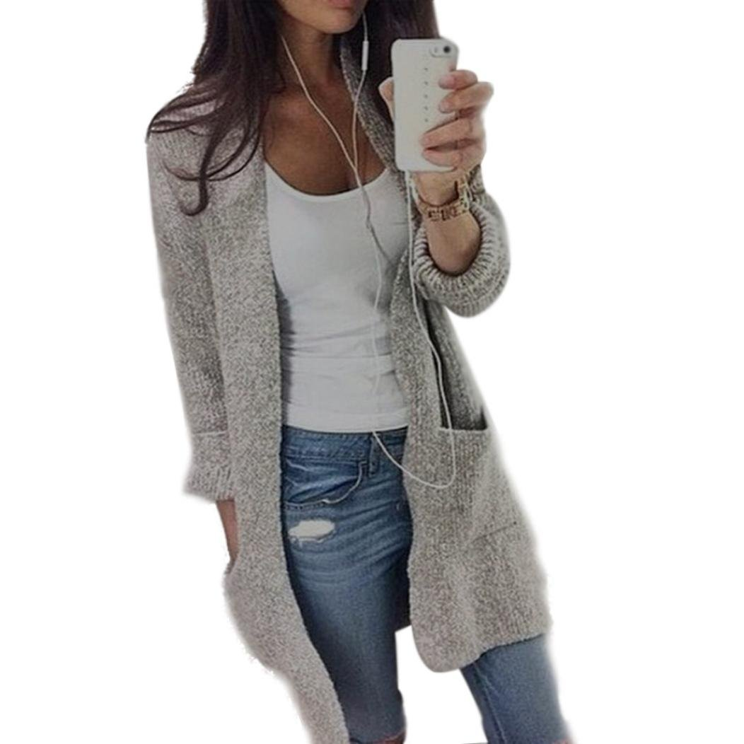 PHOTNO Casual long knit coat jacket cardigan sweaters for women Lady (L, Gray)