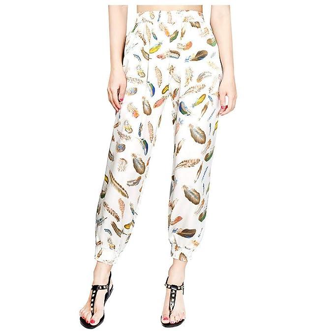 ❤ Pantalones de harén de Mujer, Pantalones con Estampado de Plumaje y Pantalones Anchos Sueltos Absolute: Amazon.es: Ropa y accesorios