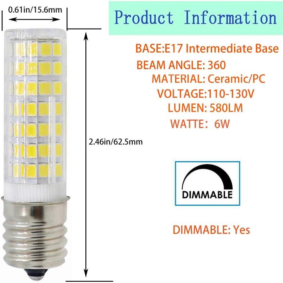 AC120V 60W Halogen Bulb Equivalent E17-6W-White 2-PACK E17 LED E17 Intermediate Base,88/×2835SMD,580LM,6W E17 Bulb Dimmable E17 Led Bulb Microwave Oven Appliance