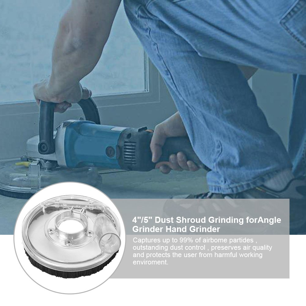Dust Shroud Kit Dry Grinding Dust Cover for 4''/ 5'' Angle Grinders and Wet Polisher Concrete Grinding Diamond Cup Wheels Hand Grinder Power Tool Accessories by Yosoo (Image #3)