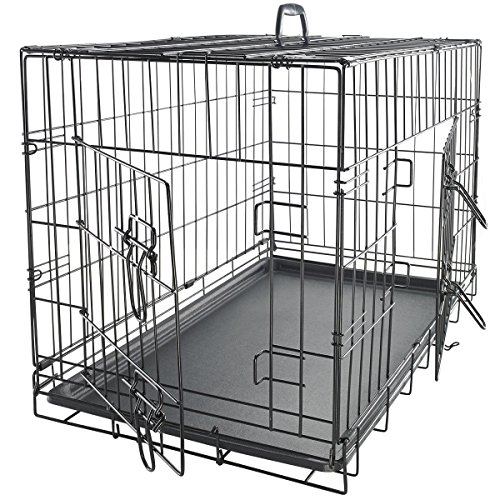 Marketworldcup Pet Kennel Cat Dog Folding Steel Crate Animal Playpen Wire Metal Cage 48