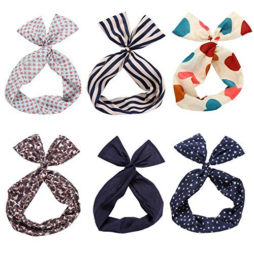 Twist Bow Wired Headbands Scarf Wrap Hair Accessory Hairband by Sea Team(6 Packs)