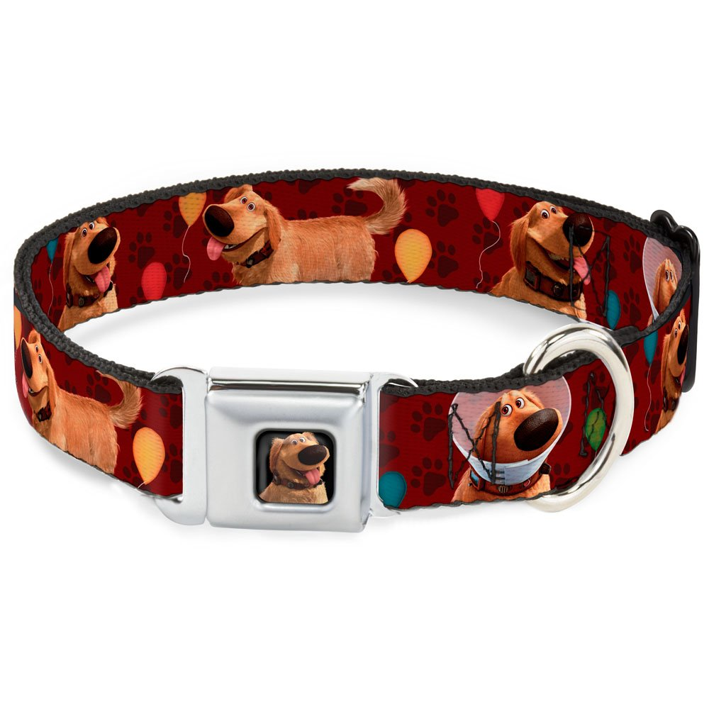 Buckle-Down Seatbelt Buckle Dog Collar Dug 4-Poses Balloons Paw Print Reds 1  Wide Fits 11-17  Neck Medium