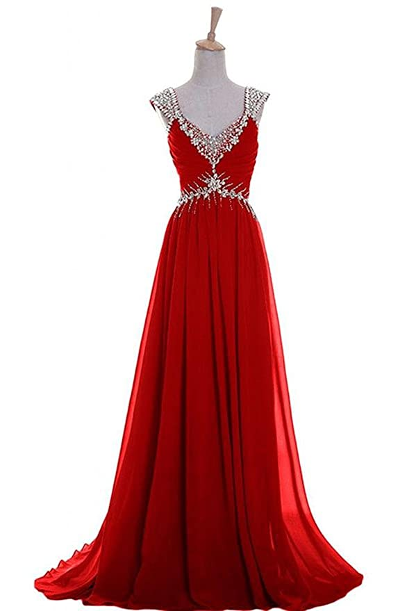 Amazon.com: Emma Y Luxury V-neck Prom Gowns Party Dresses Chiffon ...