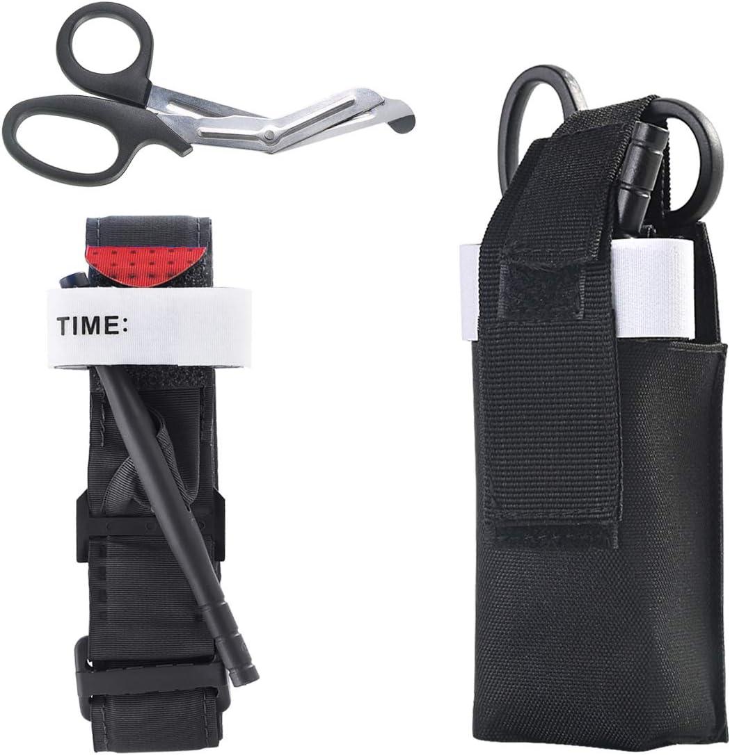 Hxq-top 3pcs / set Torniquetes Portátil Primeros auxilios Táctico Médico Ahorro de vida Hemorragia Kit Rápido con una mano Aplicación