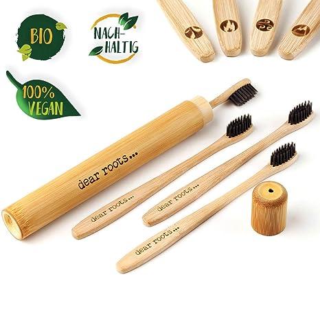 Bambú Cepillo de dientes de 4 set de viaje con funda - Mano Cepillo de dientes con ...