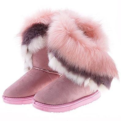 ZEARO Damen Winter Schneestiefel Winterstiefel Stiefeletten Schlupfstiefel Boots Warm Pelz Stiefel