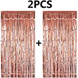 FECEDY 2pcs 3ft x 8.3ft Rose Gold Metallic Tinsel Foil Fringe Curtains Photo Booth Props