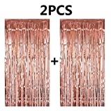 Toys : FECEDY 2pcs 3ft x 8.3ft Rose Gold Metallic Tinsel Foil Fringe Curtains Photo Booth Props for Birthday Wedding Engagement Bridal Shower Baby Shower Bachelorette Holiday Celebration Party Decorations