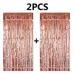 2 Pcs Rose Gold Metallic Tinsel Foil Fringe Curtains Each rose gold Curtains size is 3ft x 8.3ft ,total 2 pcs curtains It is suitable for Birthdays, Weddings, Baby Showers, etc.. party you also can DIY with our balloons,pom poms, banners for ...