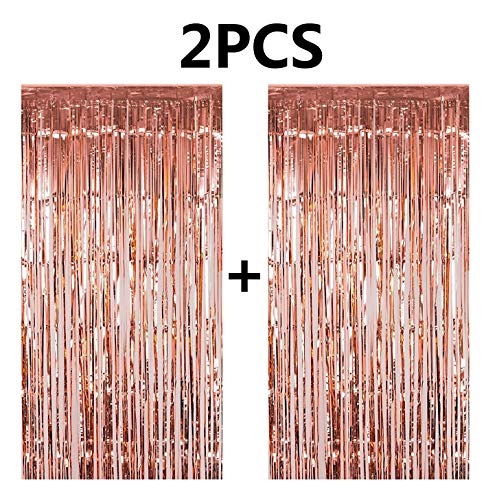 FECEDY 2pcs 3ft x 8.3ft Rose Gold Metallic Tinsel Foil Fringe Curtains Photo Booth Props for Birthday Wedding Engagement Bridal Shower Baby Shower Bachelorette Holiday Celebration Party Decorations]()
