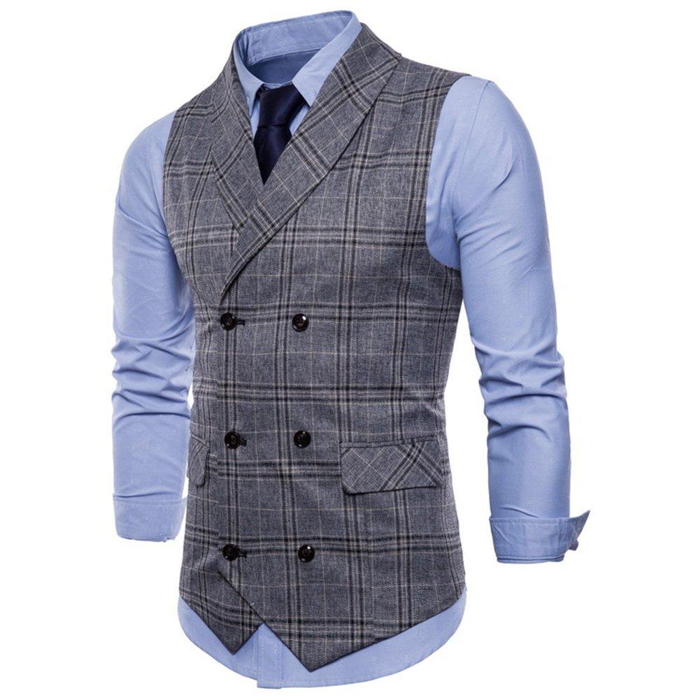 C2S Men's British Gentleman Dress Suit Vest Double Breasted Lattice Waistcoat WT13 (Grey, L)