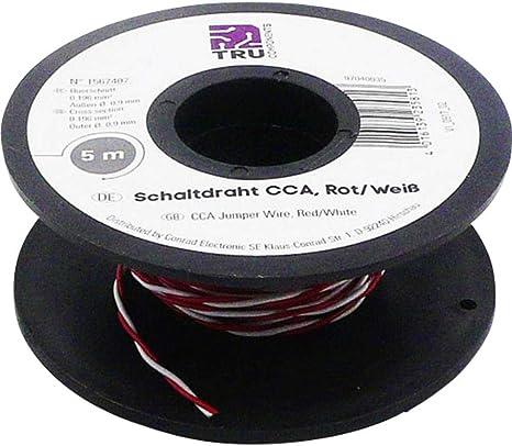 Fil de c/âblage TRU COMPONENTS SH1998C497 1567407 2 x 0.20 mm/² Rouge Blanc 5 m