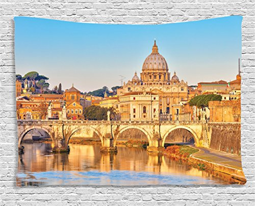 Tiber Collection - Ambesonne Wanderlust Decor Collection, View At Tiber And St Peter Landmark Monument Sunny Touristic Travel Destinations, Bedroom Living Room Dorm Wall Hanging Tapestry, 60W X 40L Inch