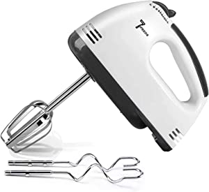 Electric Mixer Handheld, 7-Speed Hand Mixer, Eletric Handmixer with 4 Stainless Steel Attachements(2 Dough Hook & 2 Beaters) + Turbo Button for Whip Cream, StirEgg, Make Puree, etc