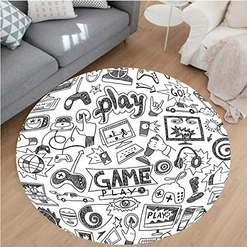 Nalahome Modern Flannel Microfiber Non-Slip Machine Washable Round Area Rug-ack and White Sketch Style Gaming Design Racing Monitor Device Gadget Teen 90s Blak White area rugs Home Decor-Round 47'' by Nalahome