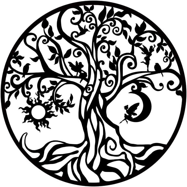 Biuteawal Tree of Life Metal Wall Art Moon and Sun Nature Inspired Decor Contemporary Iron Artwork Decoration Garden Sculpture Home Living Room Bedroom Indoor Outdoor Decorative Plaque