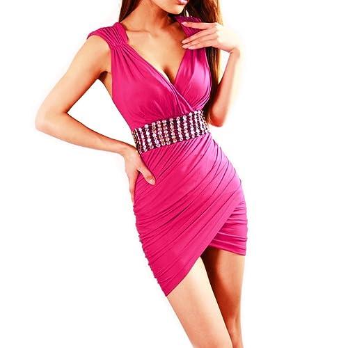 KOUDYEN Donne Sexy Scollo a V Senza Maniche Diamante Mini Bodycon Clubwear Vestito Abbigliamento,YF7...