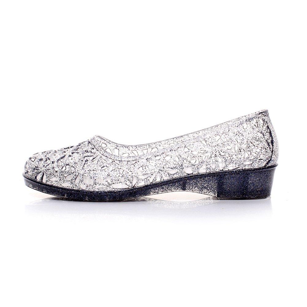 Omgard Womens Summer Ballet Flat Jelly Shoes Hollow Glitter Crystal Platform Sandals Color Black Size 8.5