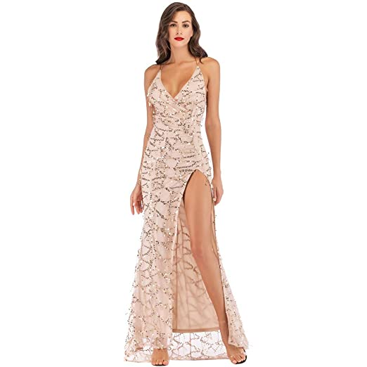 10ed84990a PASATO Deep-V Neck Adjustable Spaghetti Sexy Maxi Sequin Halter Backless  Split Cocktail Prom Gown