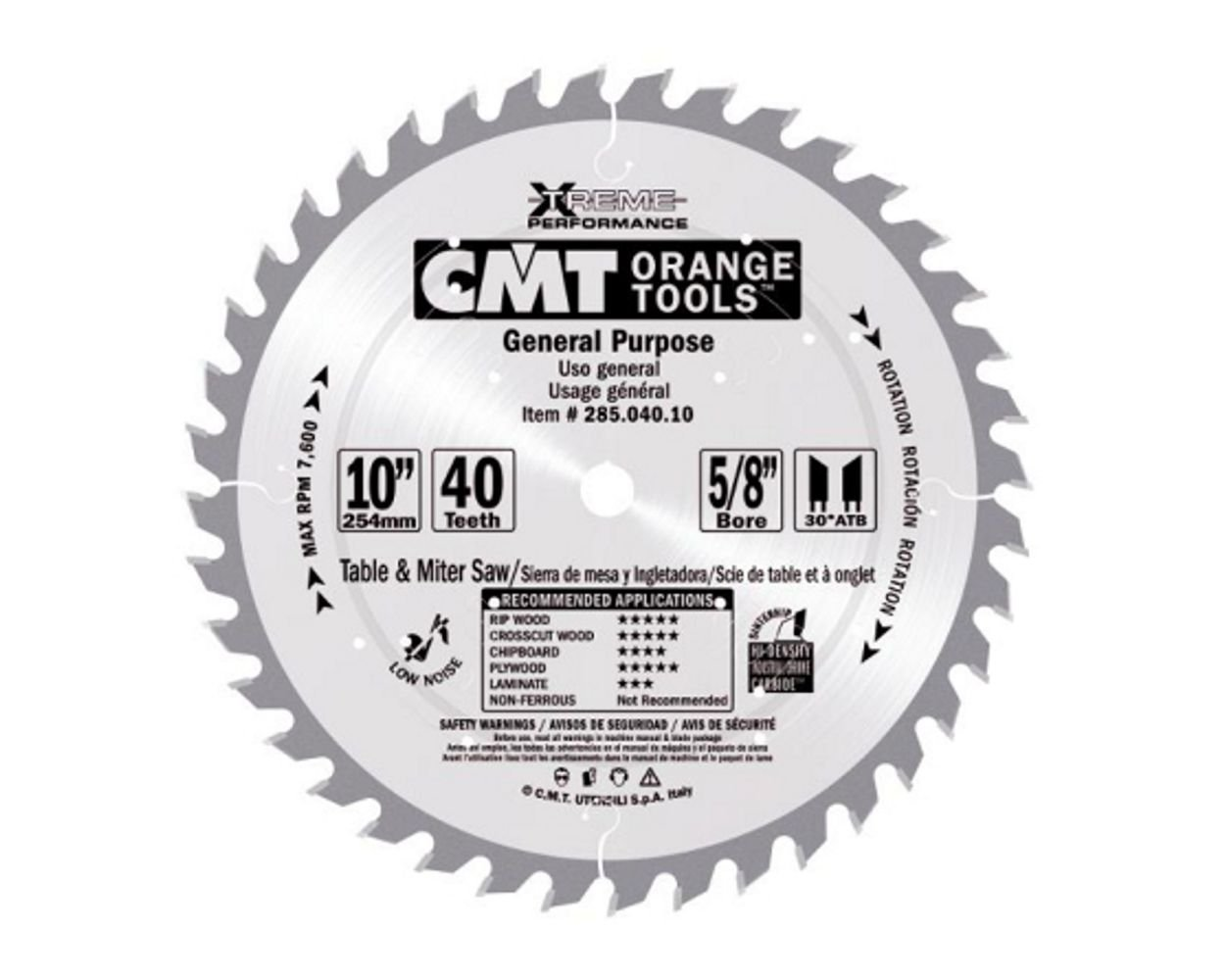 CMT 285.048.12M Industrial Heavy-Duty General Purpose Blade and  300mm 11-13/16-Inch by 48 Teeth 10-Degree ATB with 30mm Bore