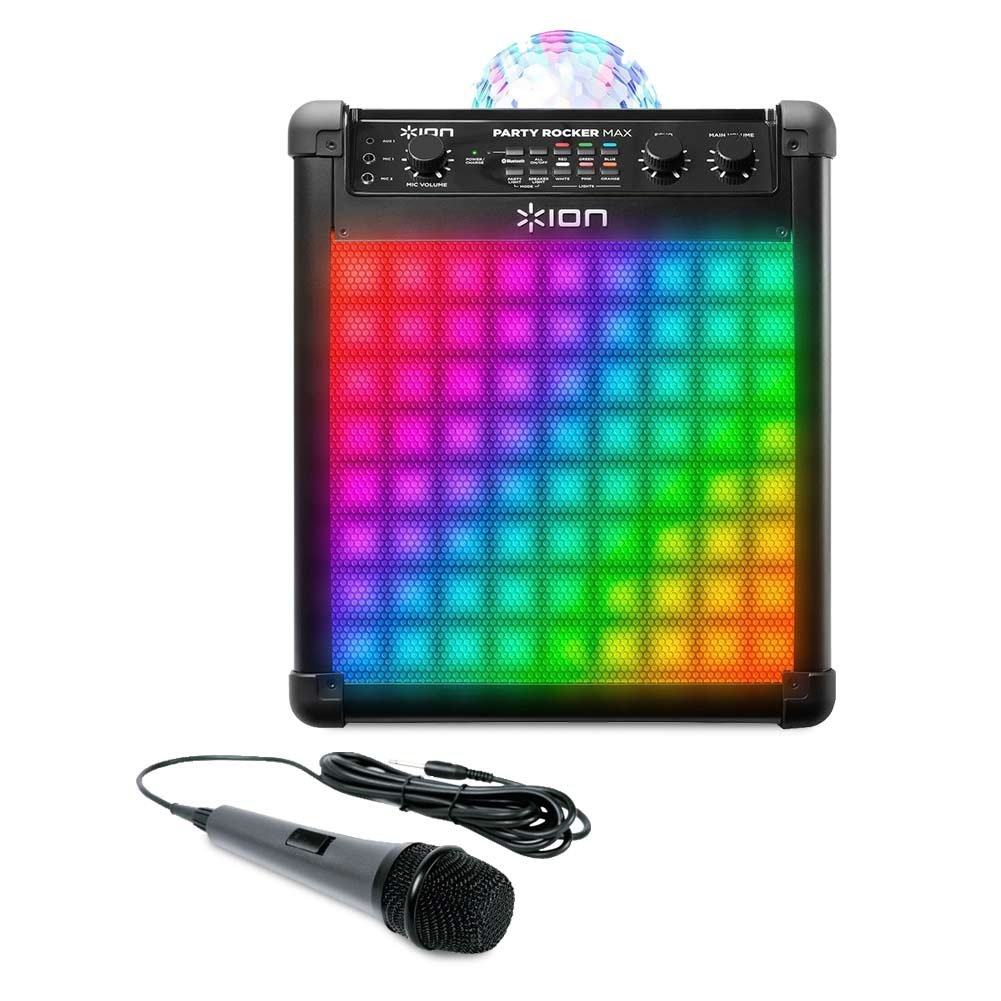 Ion Audio Party Rocker Max   Wireless Rechargeable Speaker with Multi-Effect Party Lights and Microphone with 10 Ft. Cord