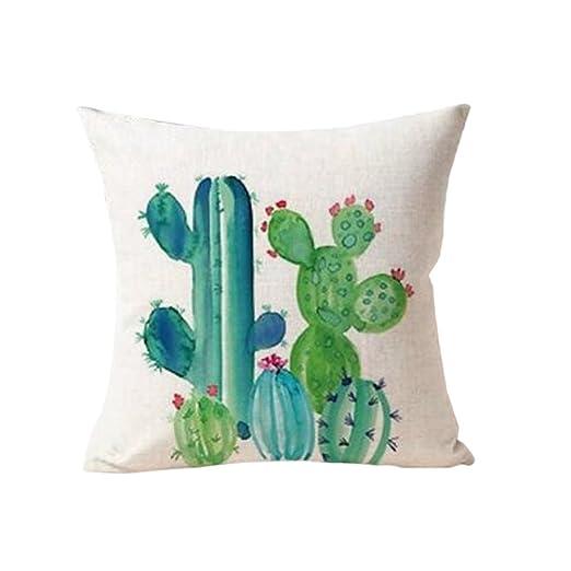 Funda de cojín de lino Beiguoxia para sofá, estampado de cactus