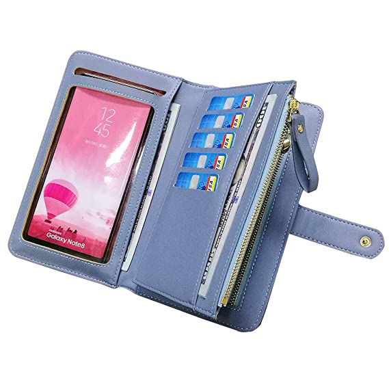 Leather Wallets for Women Aeeque Women s Wallet Purse Touch Screen Phone  Bag Large Capacity Zipper Wallet 7887e3edd3