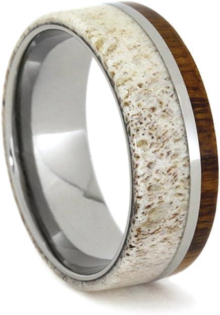 Ironwood Titanium Pinstripe Inlay 9mm Comfort Fit Titanium Wedding Band