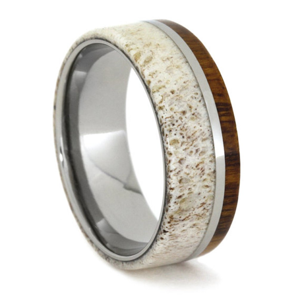 Deer Antler, Ironwood, Titanium 8mm Comfort-Fit Titanium Wedding Band, Size 10 by The Men's Jewelry Store (Unisex Jewelry) (Image #1)