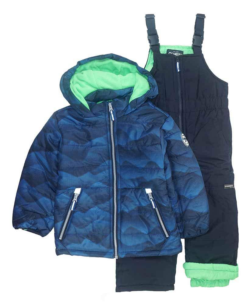 Osh Kosh Boys' Toddler Ski Jacket and Snowbib Snowsuit Set, Blue Print, 2T by OshKosh B'Gosh