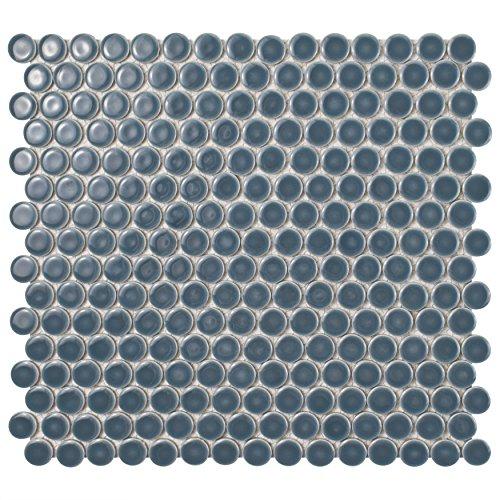 - SomerTile FKOMPR86 Penny Porcelain Mosaic Floor and Wall Tile, 12