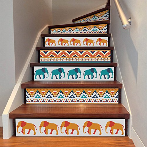 AMAZING WALL AmazingWall Indian Elephant Pattern Stair Sticker Mural Art Decor Peel and Stick DIY Tiles Decorative 7.1x39.4 6Pcs/Set (Wallpaper Indian)