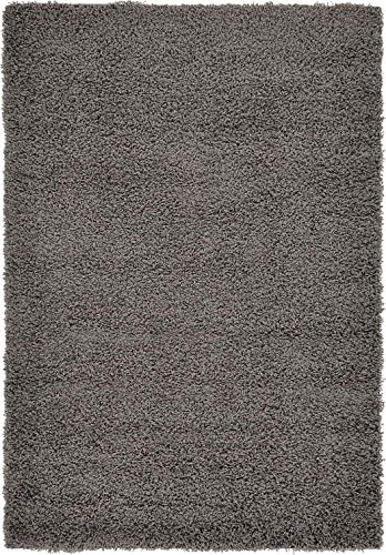 Unique Loom Solid Shag Collection Graphite Gray 4 x 6 Area Rug (4' x 6')