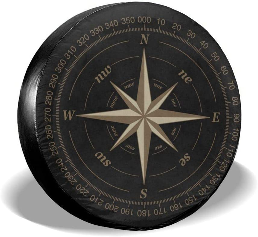 SUV and Many Vehicle 16 Inch RV LLZQJ-DAA Compass Rose Black Spare Tire Cover UV Sun Wheel Covers Fit for Jeep,Trailer