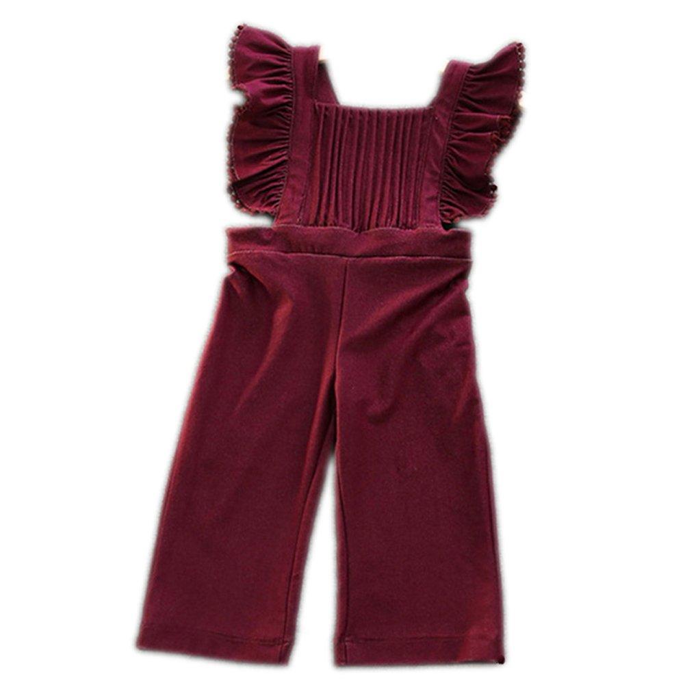 Colorful Childhood Baby Girls' Denim Overalls Toddler Kids Soft Jumpsuit Burgundy 3T